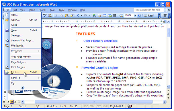 "Open the DOC-file in Microsoft Word and press ""File->Print..."" in application main menu."